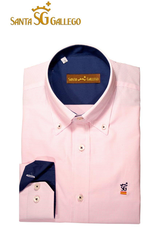 Hombre Cuadro Cuello Camisa Interior Relieve Rosa Azul Y Puño UqnAAdvxw