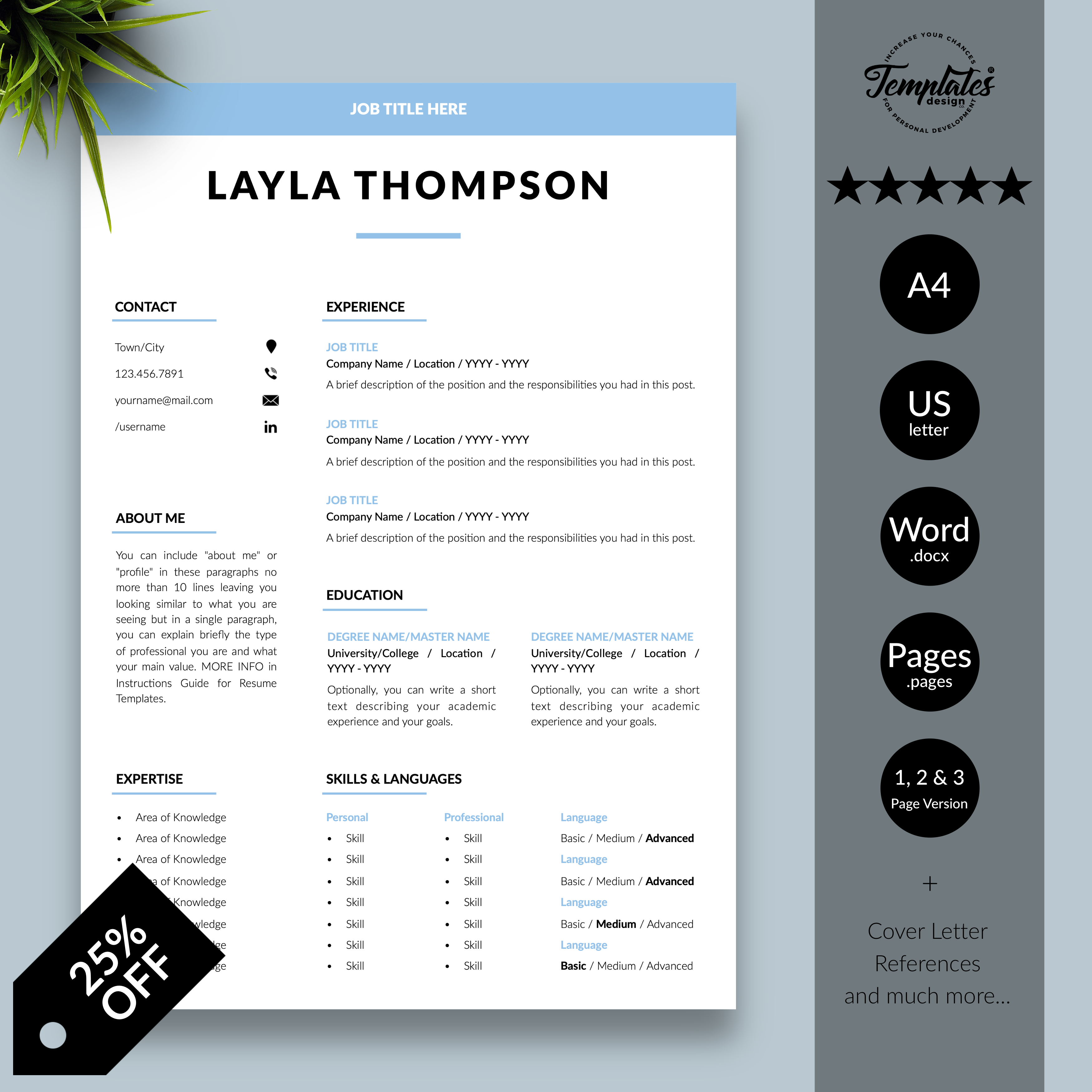Simple Resume Template Etsy / Basic & Clean Resume + Cover