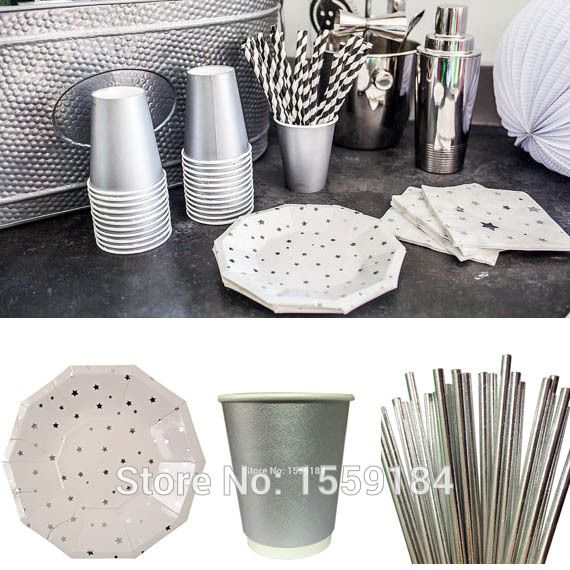 Free Ship Foil Silver Disposable Tableware 430pcs Metallic Silver Party Plate Cups straw for Birthday/Christmas/Wedding Party-in Event u0026 Party Supplies from ... & Free Ship Foil Silver Disposable Tableware 430pcs Metallic Silver ...