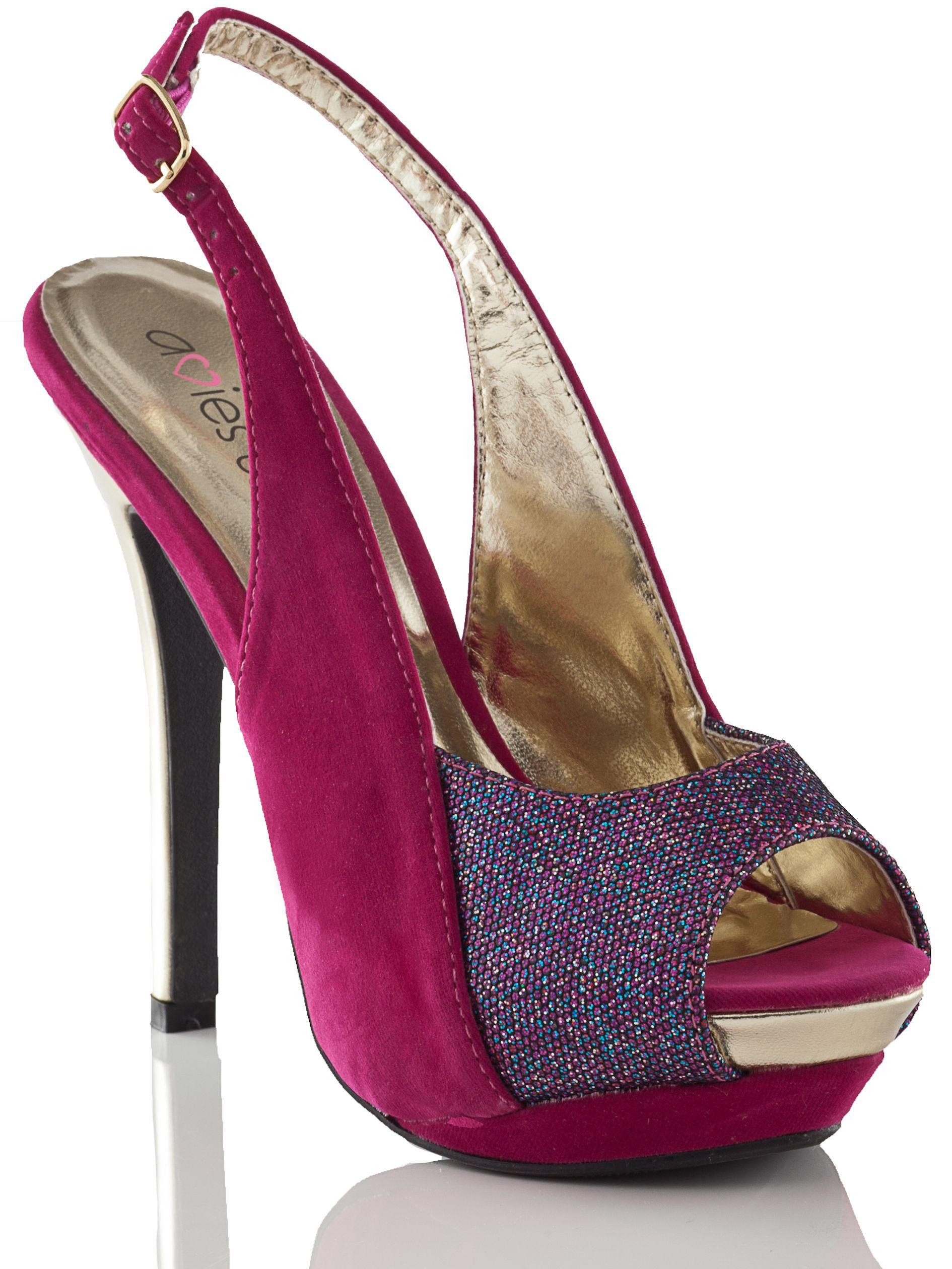 Shine in this metallic and glitter Lia heels.