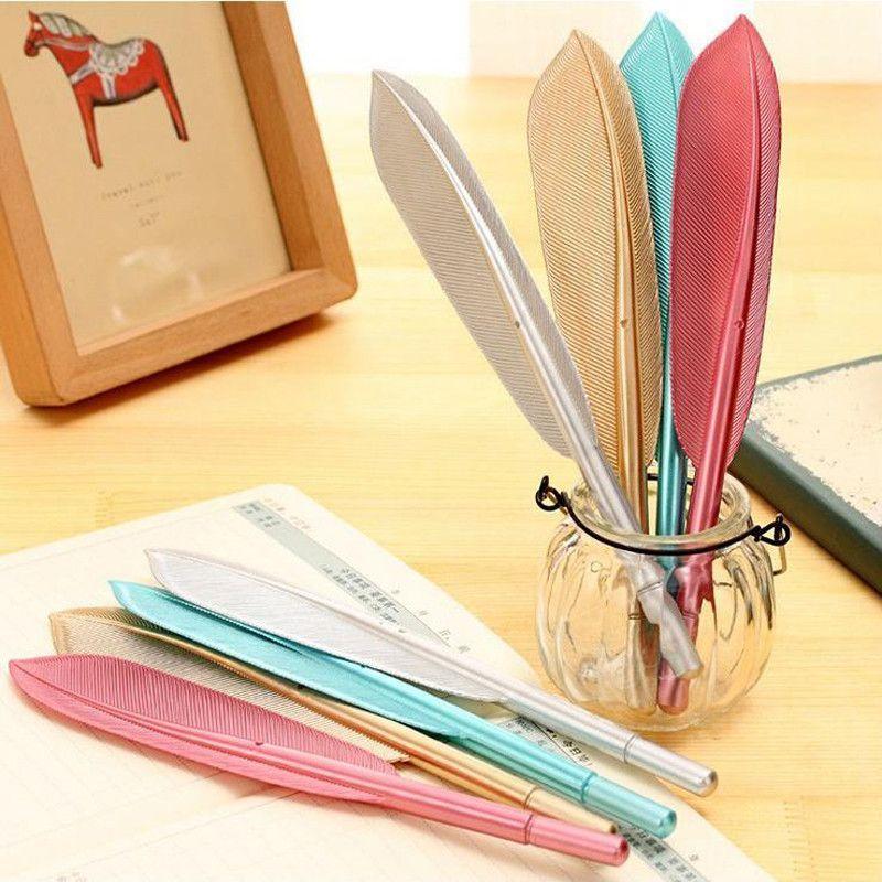 1 Pc 0.5mm Black Ink Feather Gel Pen Cute Kawaii Four Colors Gel Pen School Office Supplies Gift