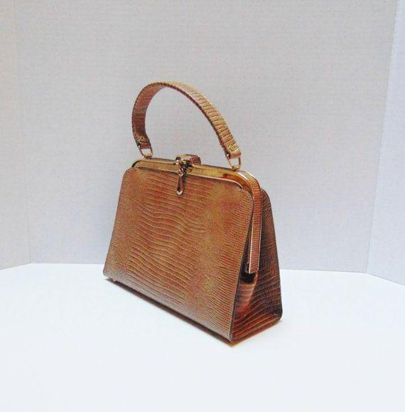 3ff71f1c16058 Vintage Frame Handbag 50s Mad Men Vintage Handbag Faux Snakeskin ...