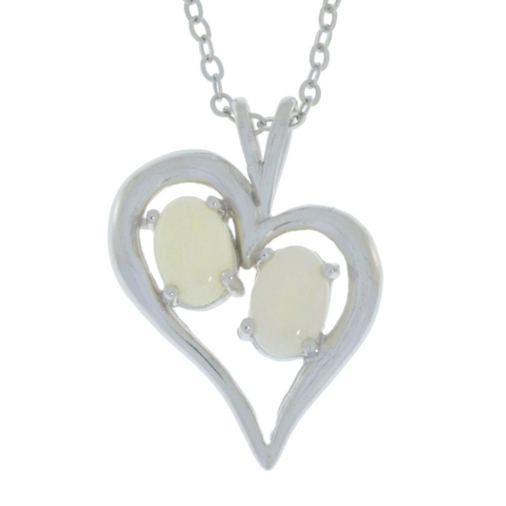 Natural Opal Oval Heart Pendant .925 Sterling Silver by ElizabethJewelryInc on Etsy