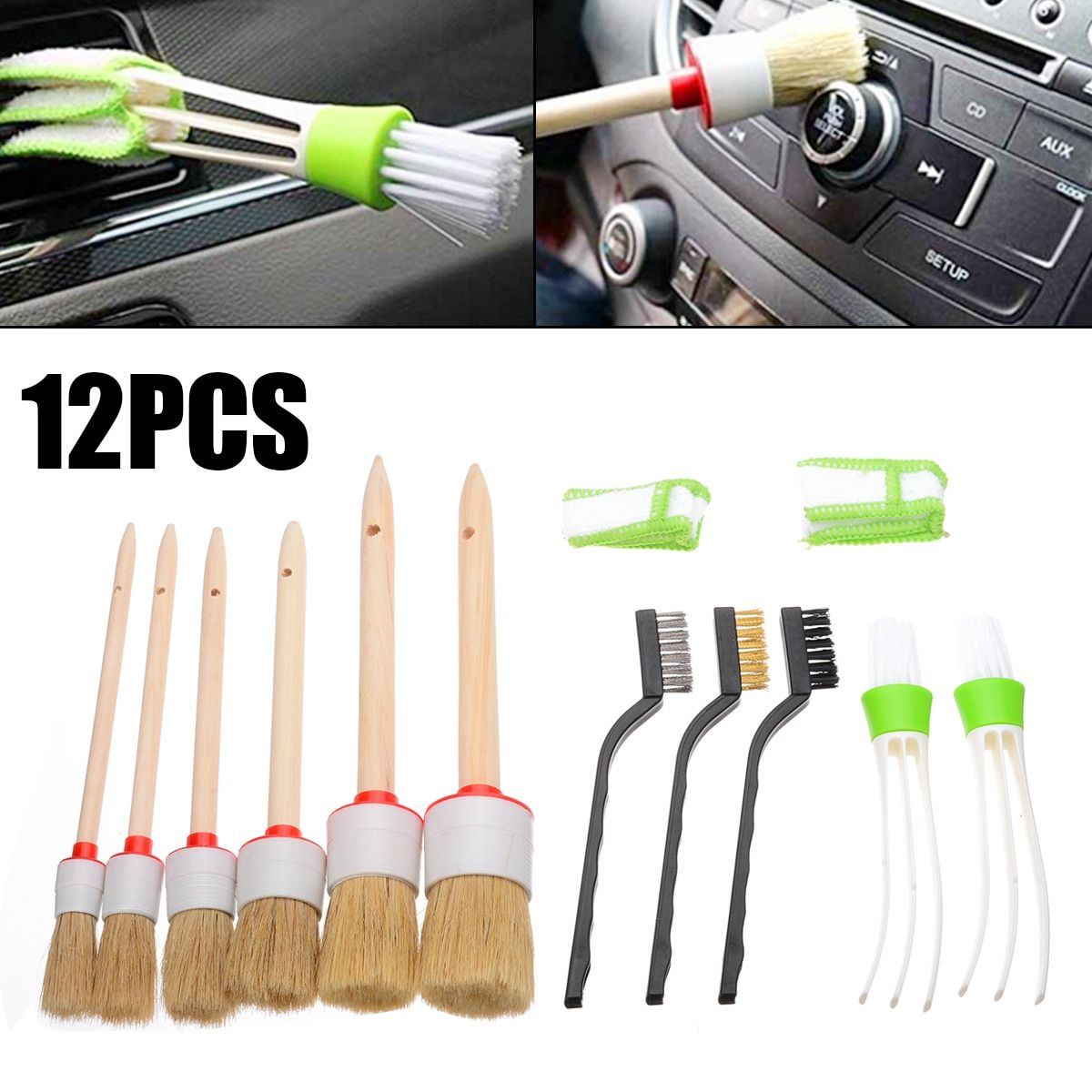 11pcs/set Car Detailing Brush Kit Vehicle Interior Air
