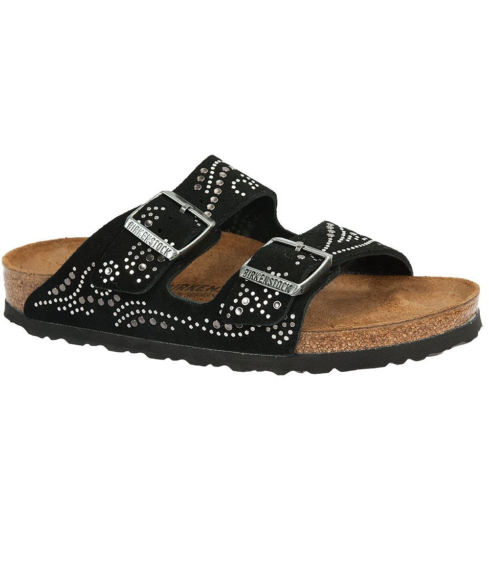 b7e2e19fab6 Birkenstock Arizona Black Suede with Rivet Detail. Fully adjustable straps  with metal buckles. Cork footbed molds to your foot for a custom fit.