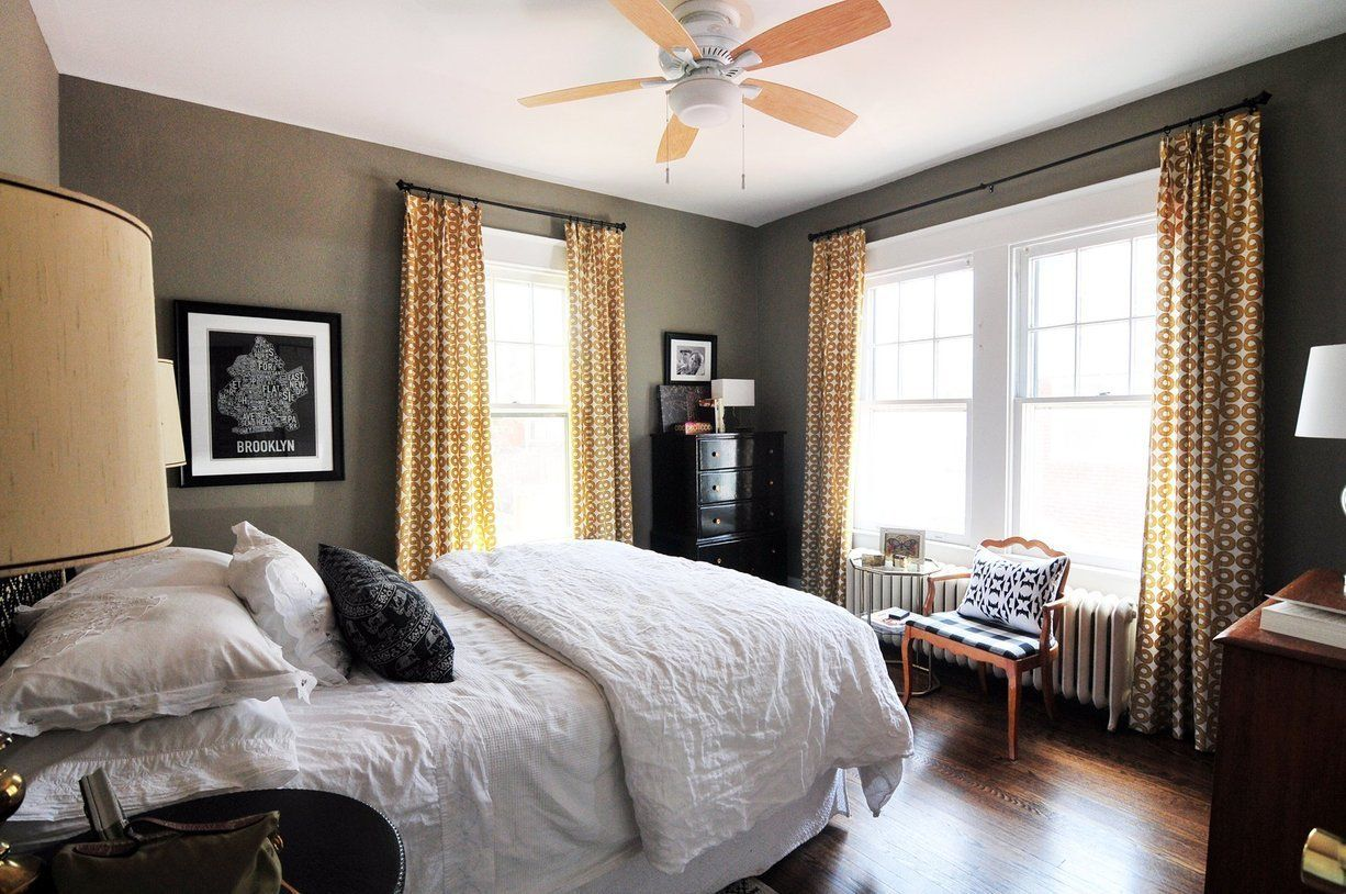 Dark paint ideas for bedroom  The Bright Home of The Casa Pino u House Tour  Geometric curtains