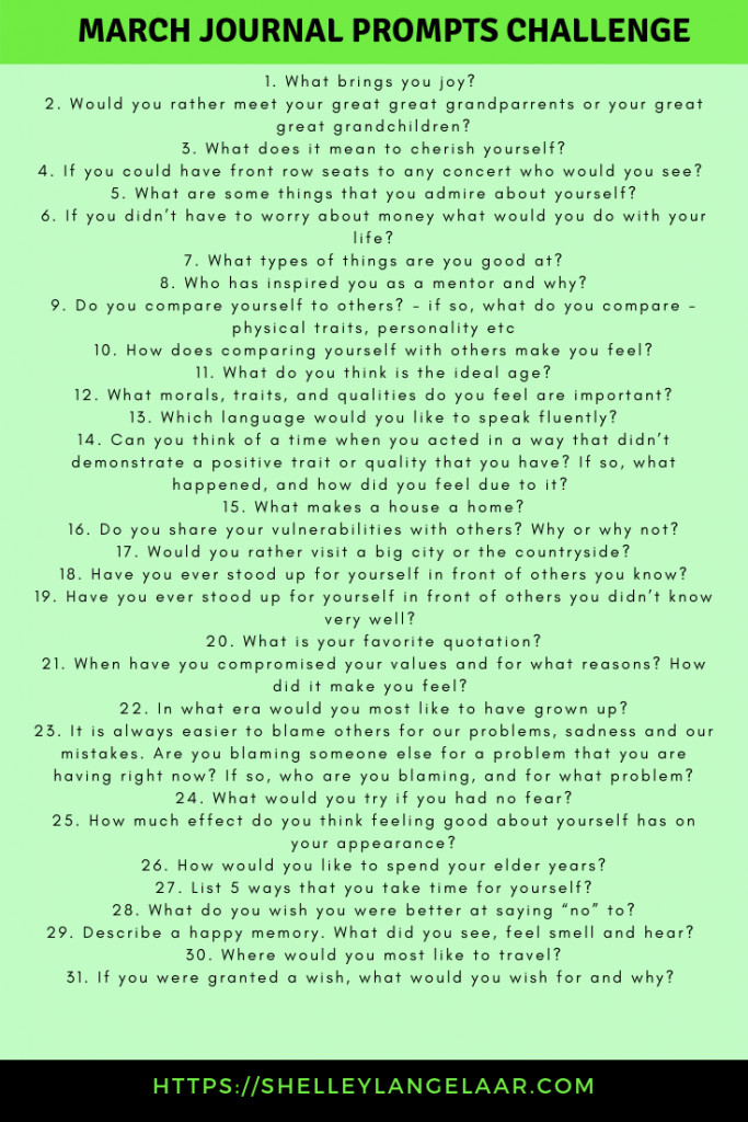 Monthly Journal Challenge - March Prompts - Victorious Living