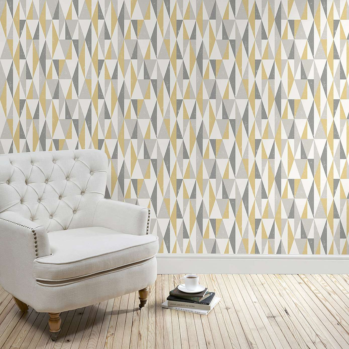 Triangle Ochre Wallpaper | Wallpaper, Living rooms and Room