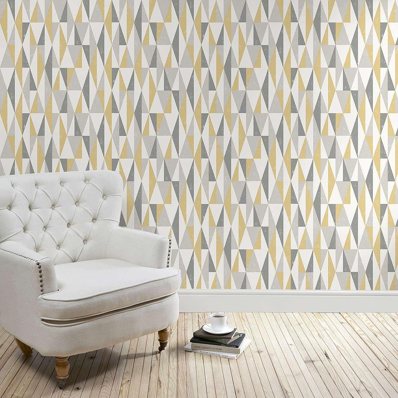 Grey And Mustard Living Room Wallpaper