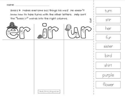 Image result for free phonics worksheets er ir ur | figure ground ...