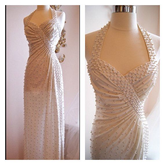 1970s Vintage Wedding Dress 70s Gown Halterneck Pearls Sequins Robert David Morten Tail Cream Ivory White Holiday Party Bo