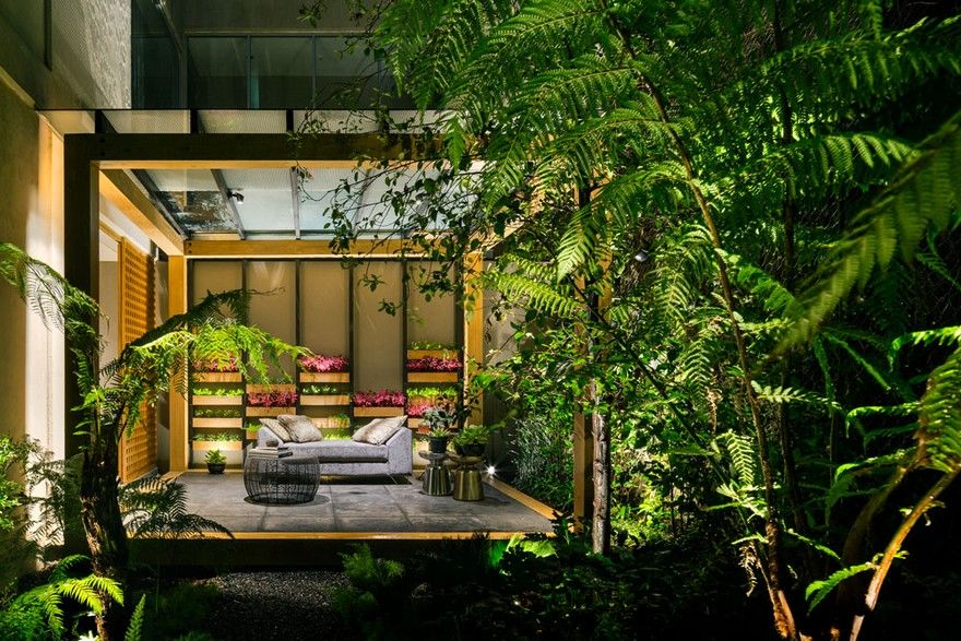 Jardin Apartment Provides a Close Connection of Living Spaces with Patios and Interior Gardens