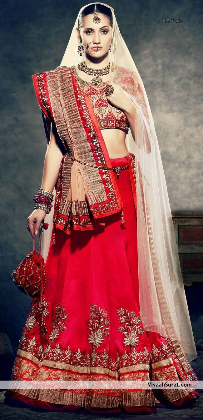 9f0ce39d93 Ferrari Red Lehenga and Cream Choli Set | Indian wedding outfits ...