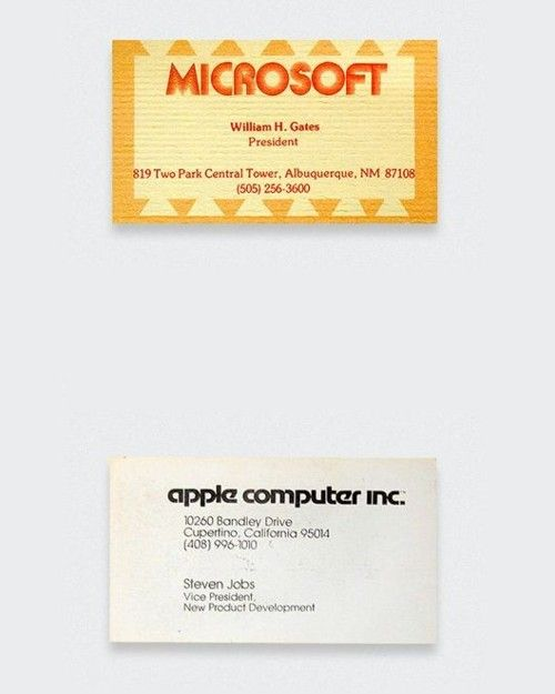 Bill Gates and Steve Jobs First Business Cards Design Vintage