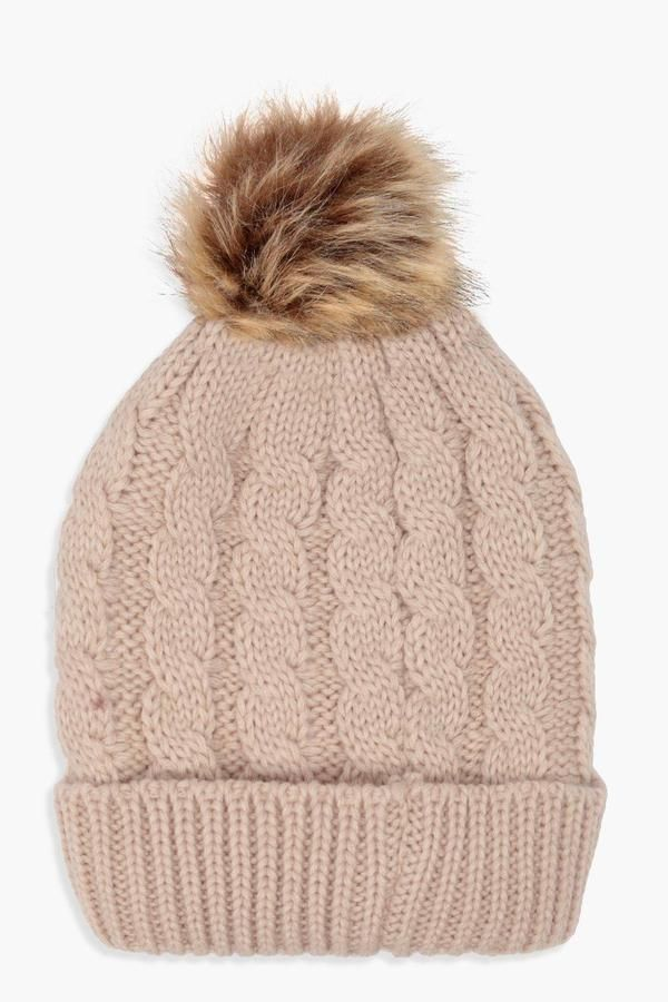 2bb8d38959b boohoo Alice Cable Knit Faux Fur Pom Beanie