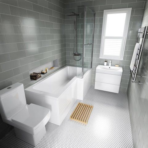 1700x850mm Right Hand L Shaped Bath 6mm Screen Rail Front Panel Excludes End Panel Bathroom Layout Bathroom Design Small Bathroom