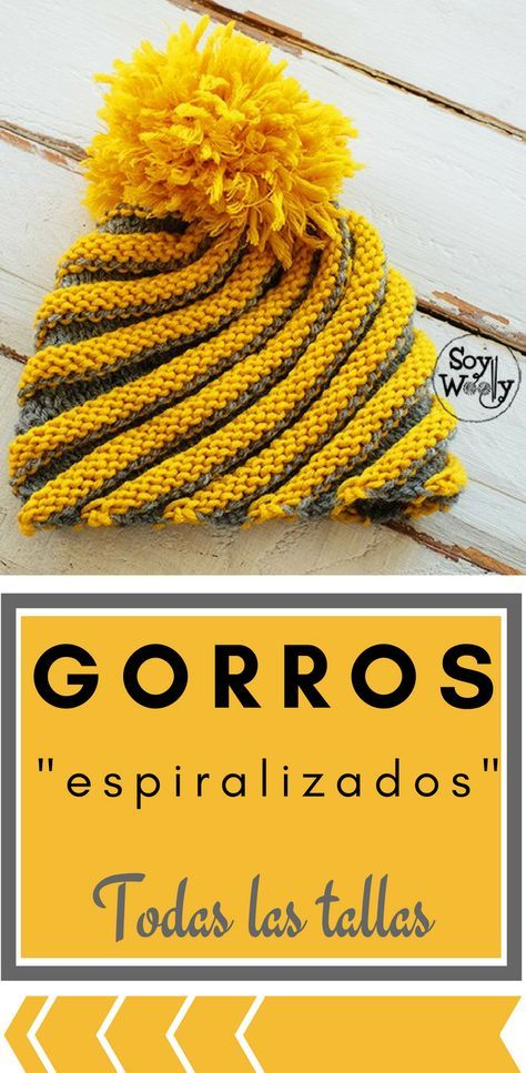 Gorro en espiral tejido en dos agujas-Todas las tallas | Pinterest ...