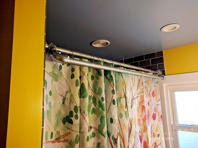 diy double shower curtain rod with towel bar plans inside