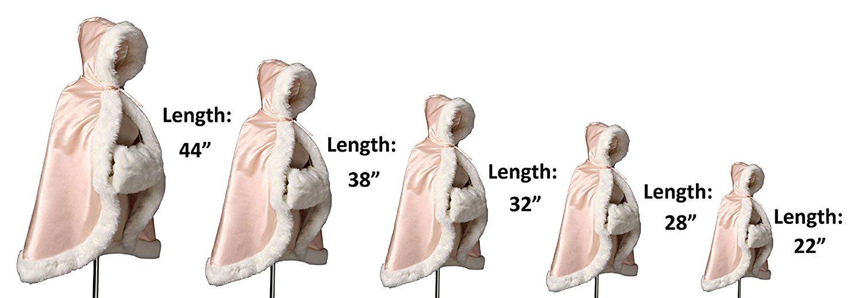 BEAUTELICATE Flower Girl Fur Cape Winter Wedding Cloak for Kid Toddler Costume Hooded Reversible Baby Coat