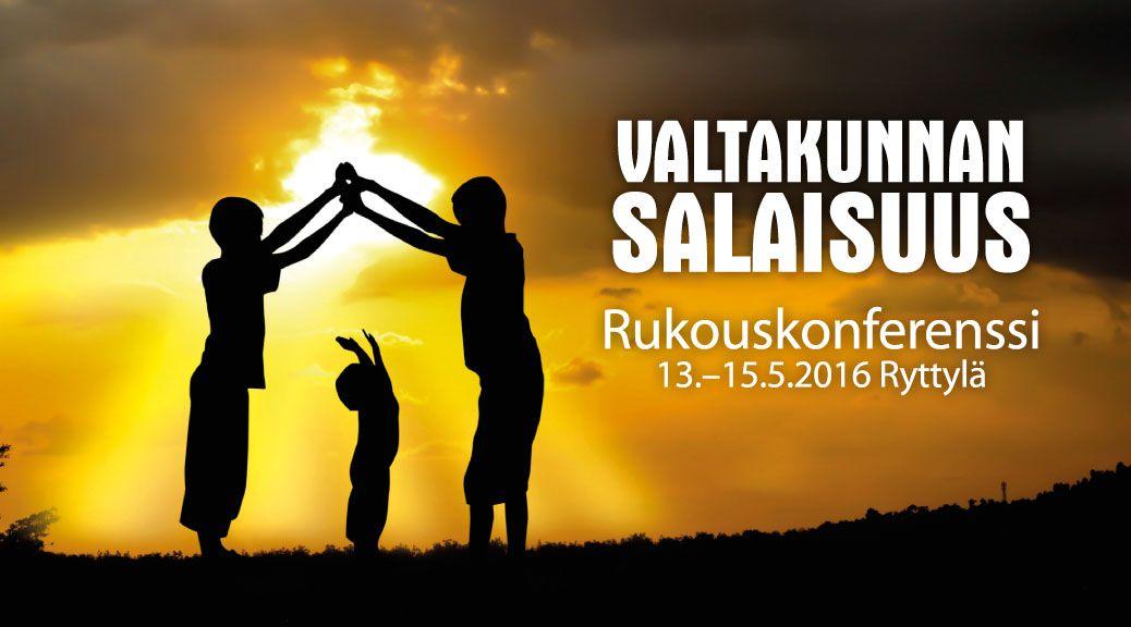 """Tervetuloa Rukouskonferenssiin 2016! Rukouskonferenssi kantaa tänä vuonna nimeä """"Valtakunnan Salaisuus"""". Paneudumme erityisesti Efesolaiskirjeeseen ja siihen, miten Paavali opettaa seur…"""