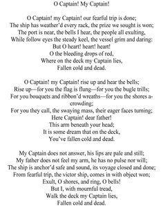 oh captain my captain - Google Search | Poems | Pinterest ...