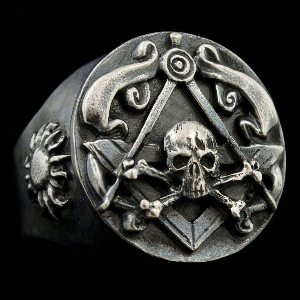 78f3be7d49a4 Mens Masonic Ring, Custom Master Mason Skull and Bones Ring ...