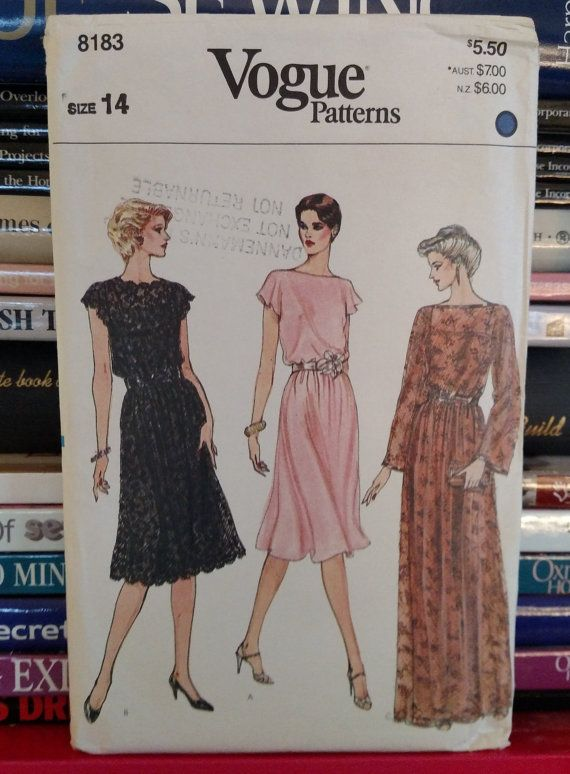 1980s Vogue Pattern 8183 Misses Cocktail Evening Dress Midi