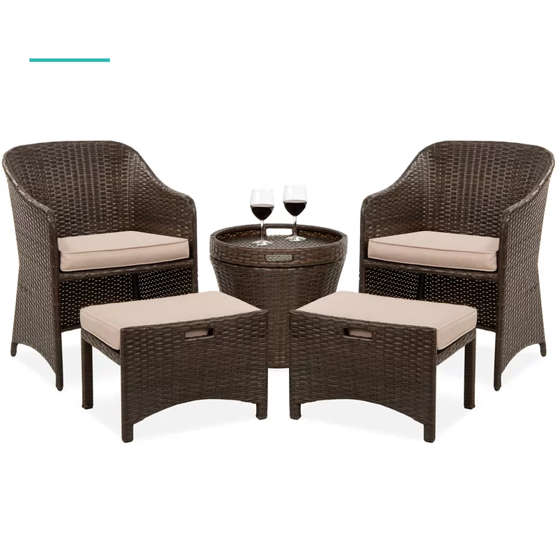 Best Choice Products 5 Piece Outdoor Wicker Patio Bistro Space Saving Furniture Set W Storage Table No Assembly In 2020 Outdoor Furniture Sets Table Storage Outdoor Wicker