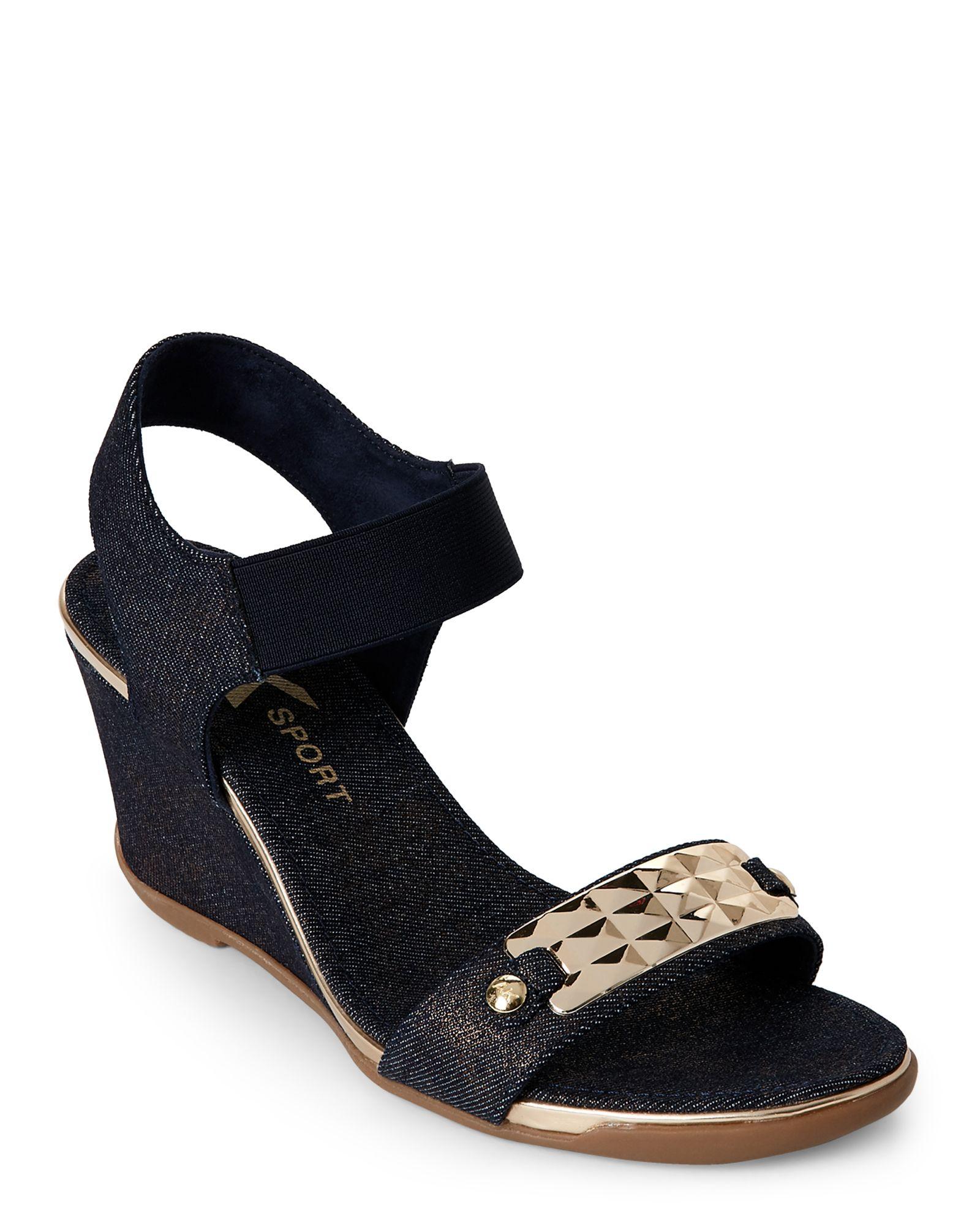 966938cc01 Ak Anne Klein Sport Denim Latasha Wedge Sandals | *Apparel ...