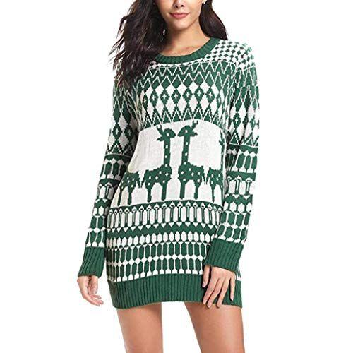Kleid-Damen-Minikleid-Weihnachten-Drucken-Lssige-Kleider-Weihnachtskleid- 9c6658849b