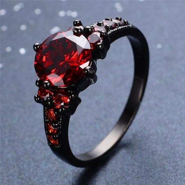 Mystic Red Stone Ring 42 liked on Polyvore featuring jewelry