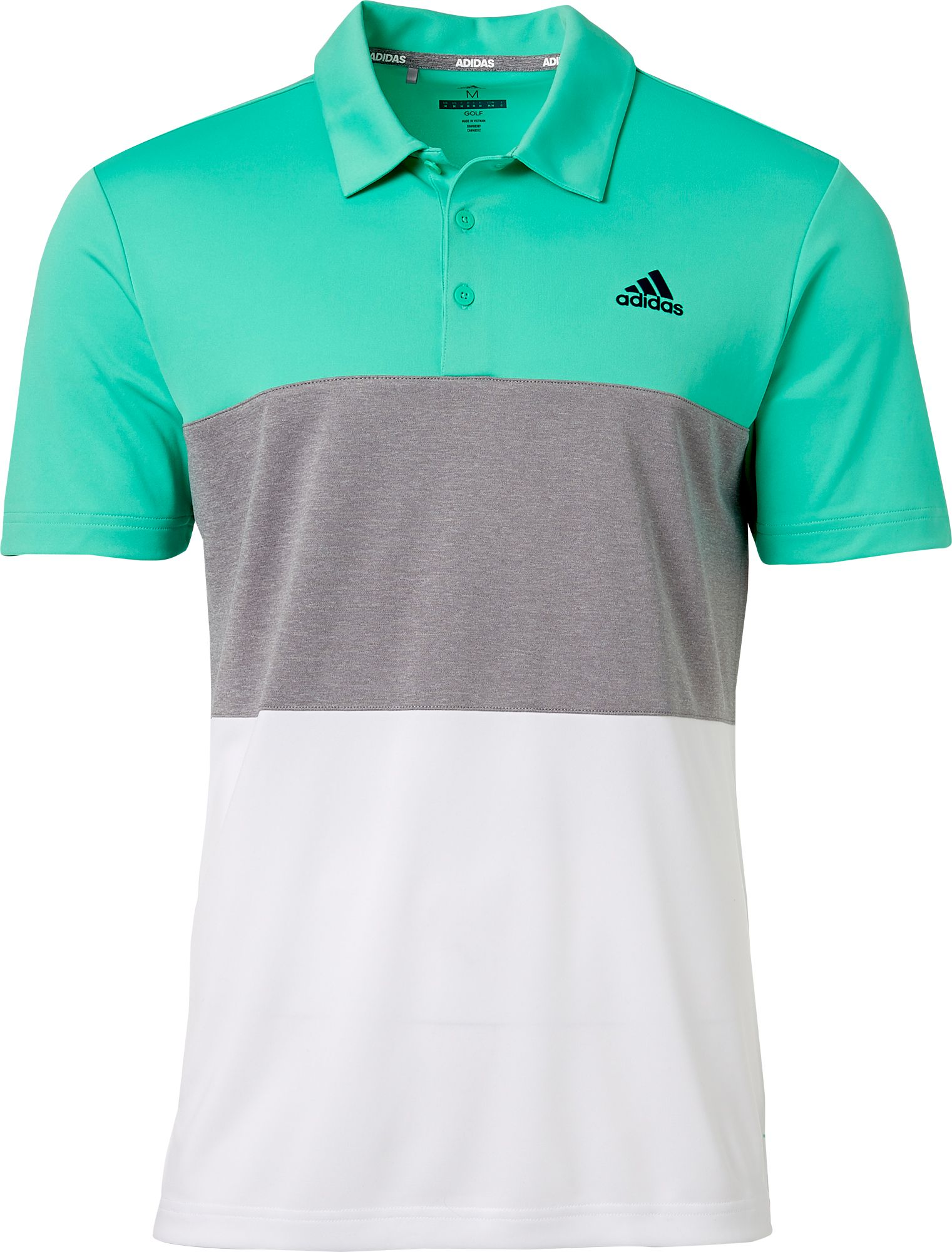 794fc232 adidas Men's Advantage Wide Colorblock Golf Polo | Hi Res Green/Grey Heather