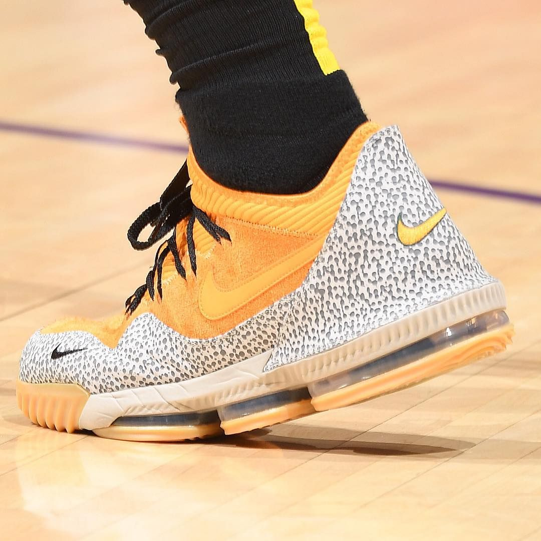 "official photos 7594d d7f0d NBA Kicks on Instagram  ""LeBron rocks the ""Safari"" Nike LeBron 16 Low x  Atmos at home!  NBAKicks"""