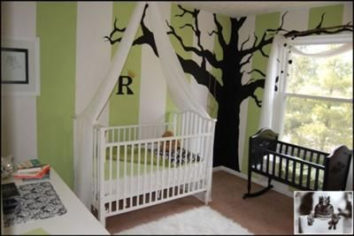 These guys painted these stripes and tree, but could easily be done with vinyl graphics.  Such a great effect and will last years from nursery to teenager just by changing furnishings.