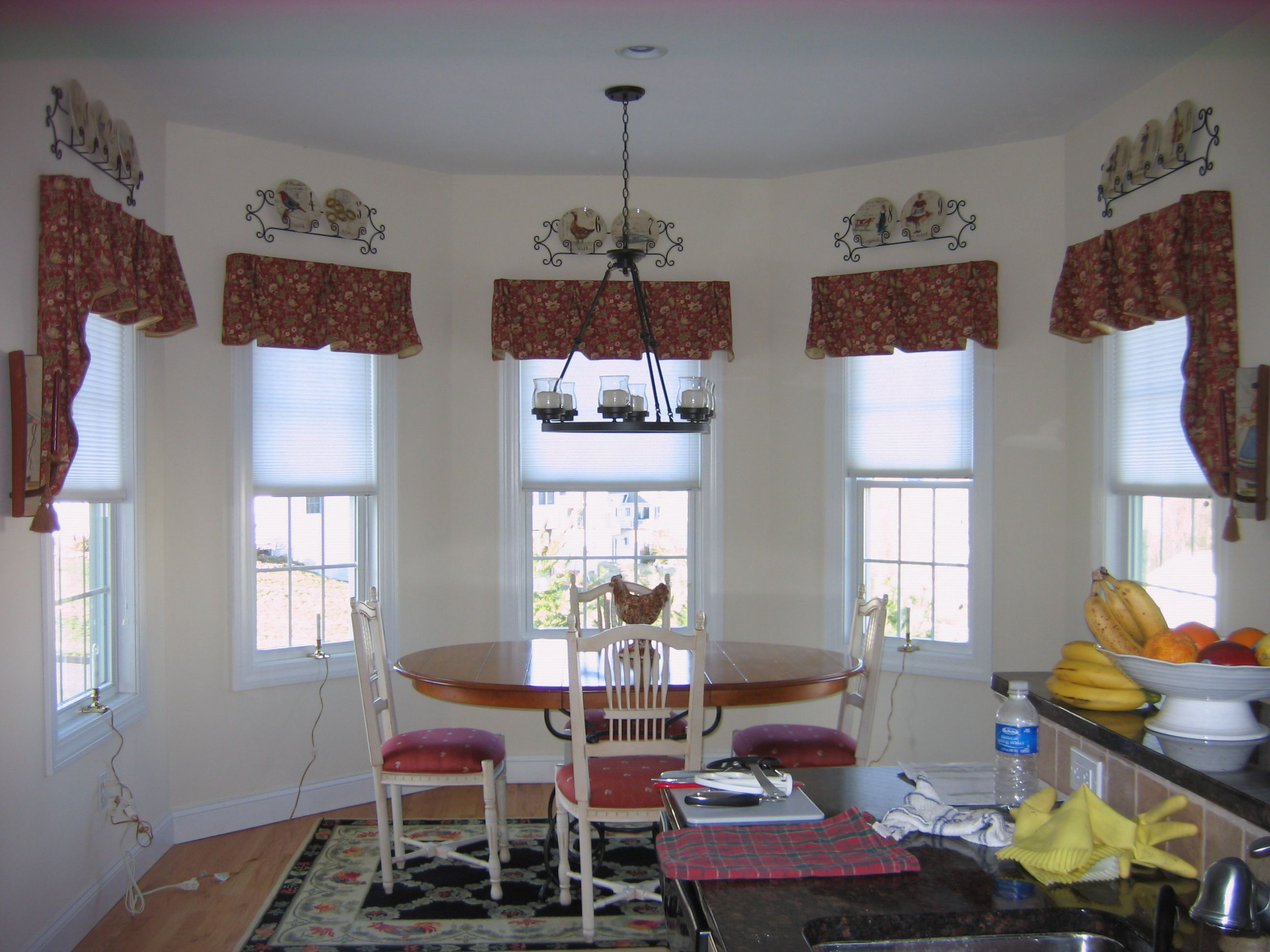 Bell Pleated Valances Over Honeycomb Shades