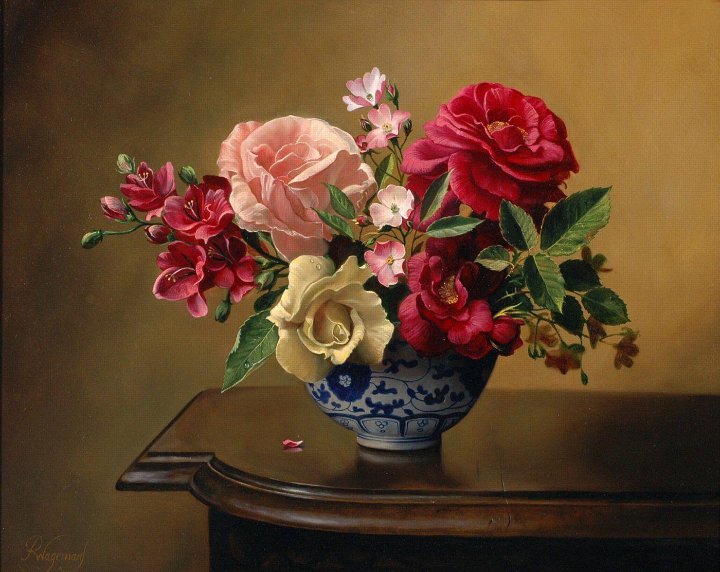 Натюрморт с цветами и вазой