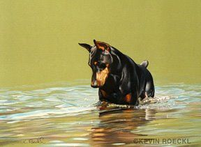 Doberman. Painting by Kevin Roeckl. I want this framed in my house!!