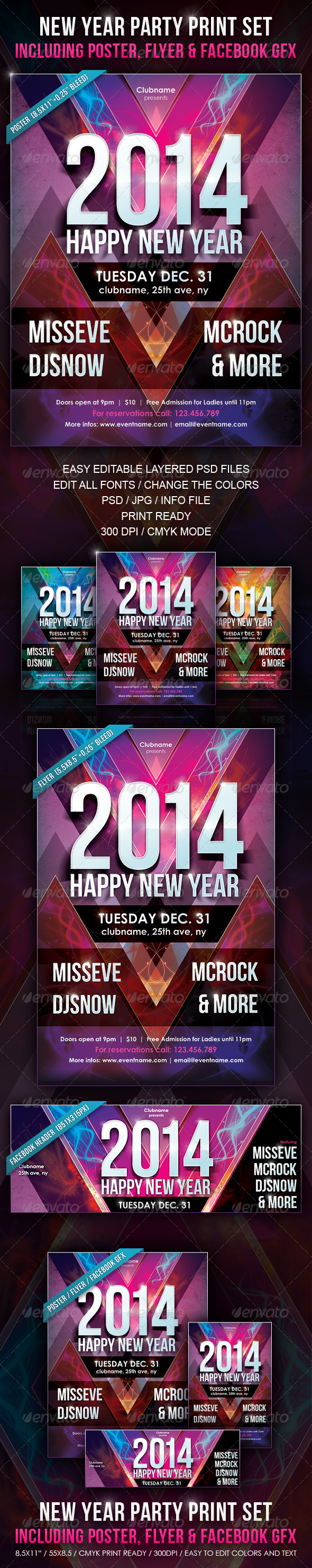 New Year Party Print Set  Facebook Header Psd Templates And