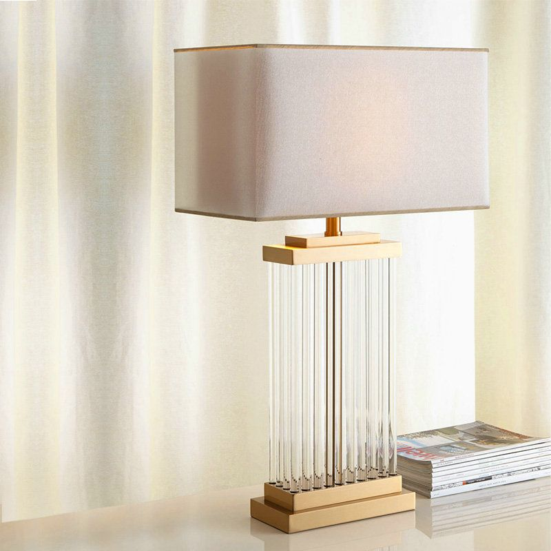 Modern Simple Table Lamp Bedroom Study Room Table Lamp Iron Glass Fixture Fabric Shade Desk Lamp Table Lamp Stylish Table Lamps Contemporary Table Lamps