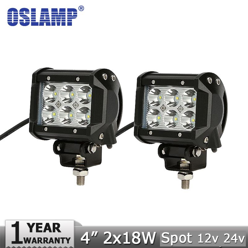 Oslamp 2pcs 18w 4 cree chips led light bar offroad spot flood beam oslamp 2pcs 18w 4 cree chips led light bar offroad spot flood beam led work mozeypictures