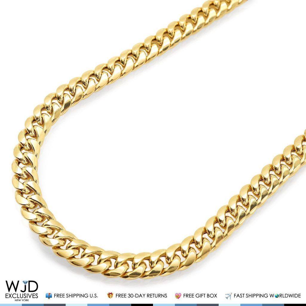 10k Yellow Gold Hollow 8mm Miami Cuban Link Chain Necklace 28 Wjd Exclusives Miami Cuban Link Chain Cuban Link Chain Cuban Link Chain Necklaces