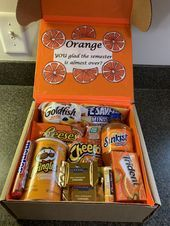 Orange you glad finals week care package #spookybasketideas Orange you glad fina...