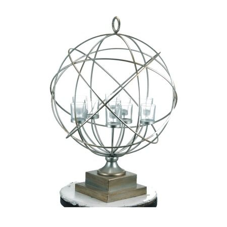 Stella Tea Light Holder.    Display your favorite candles in contemporary style with the captivating Stella Tea Light Holder. Showcasing a globe-inspired silhouette and candelabra design, this eye-catching accent creates a stylish focal point in your living room, den, or study.