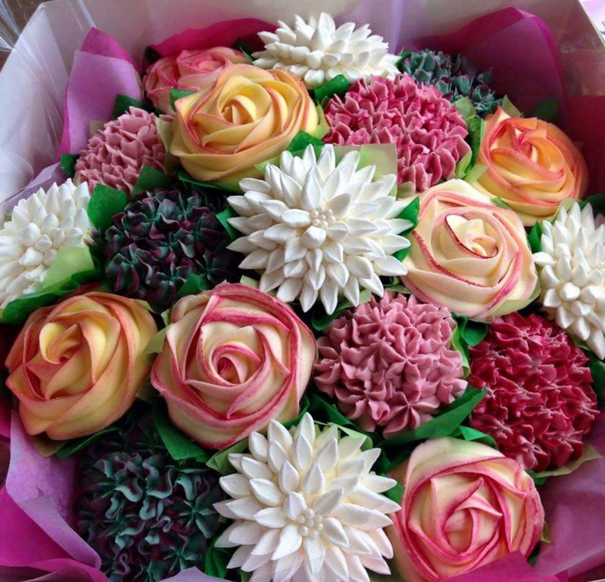 Cupcake flower bouquet shower ideas pinterest cupcake flower cupcake flower bouquet izmirmasajfo