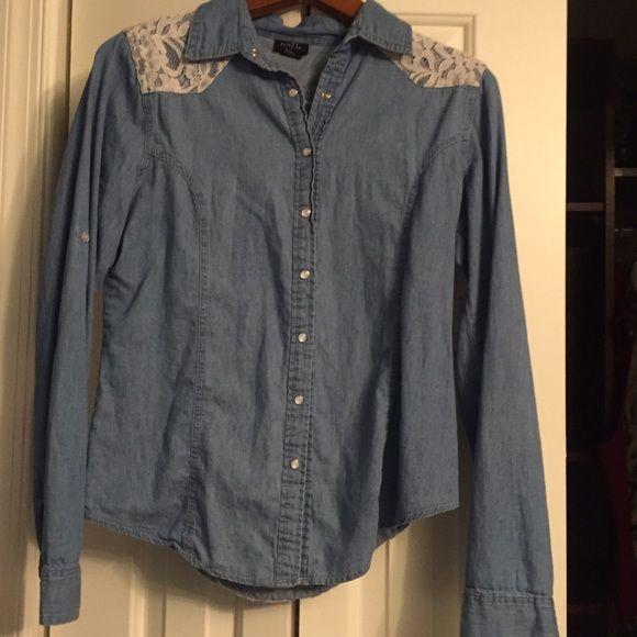 Button down denim Worn a few times. Super comfy. Rue 21 Tops Button Down Shirts