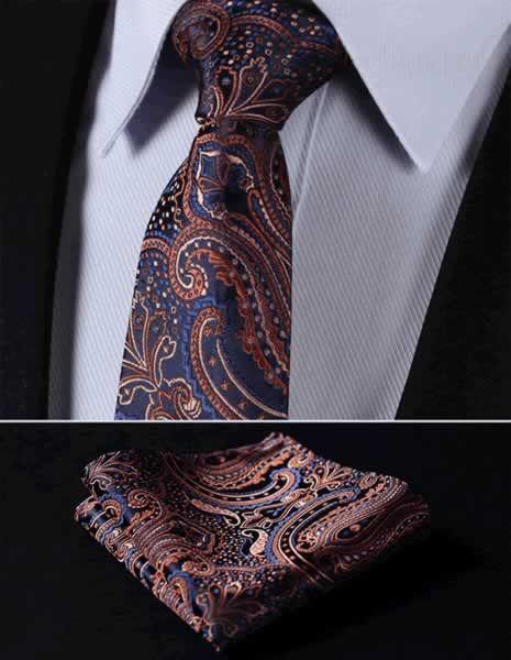 "TP907V8 Navy Blue Orange Paisley 3.4"" 100%Silk Wedding Jacquard Woven Men Tie Necktie Pocket Square Handkerchief Set Suit"
