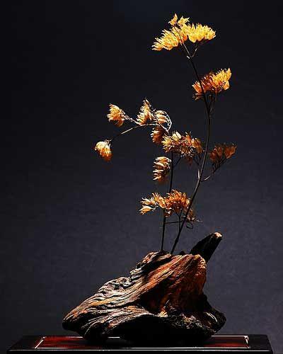 driftwood ikebana flower arrangement japan flower ikebana