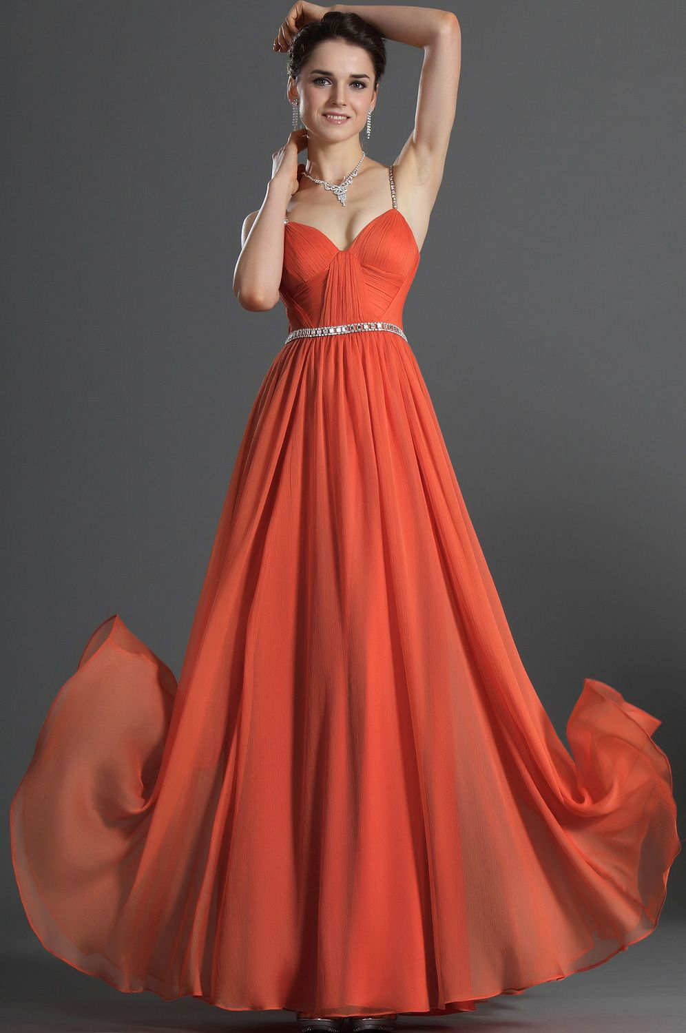 V cut spaghetti straps evening dress in gowns