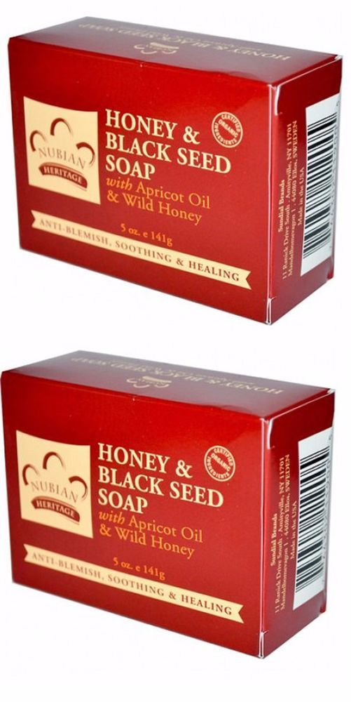 """TWIN PACK of Nubian Heritage Bar-""""Honey& Black Seed -5oz Soaps/Shea Butter #NubianHeritage"""