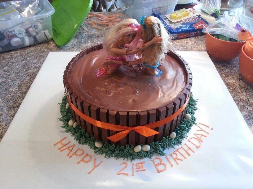 Mud wrestlers 21st birthday cake
